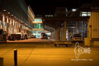 Backside of Terminal F with busses parked for transportation to the charter plane.