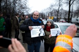 Matthias Lillienthal, intendant of world-renowed Munich Kammerspiele, participates in in the rally for freedom.