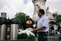 Mint-tea is handed out by a man on Place de la REpublique.