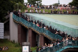 Protestors gather at Landungsbrücken