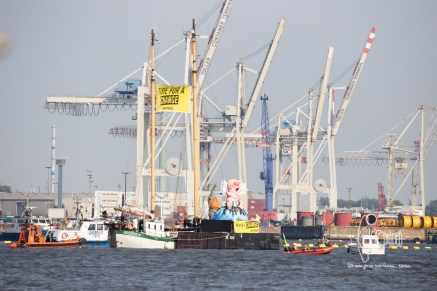Greenpeace action in front of Elbphilarmonie