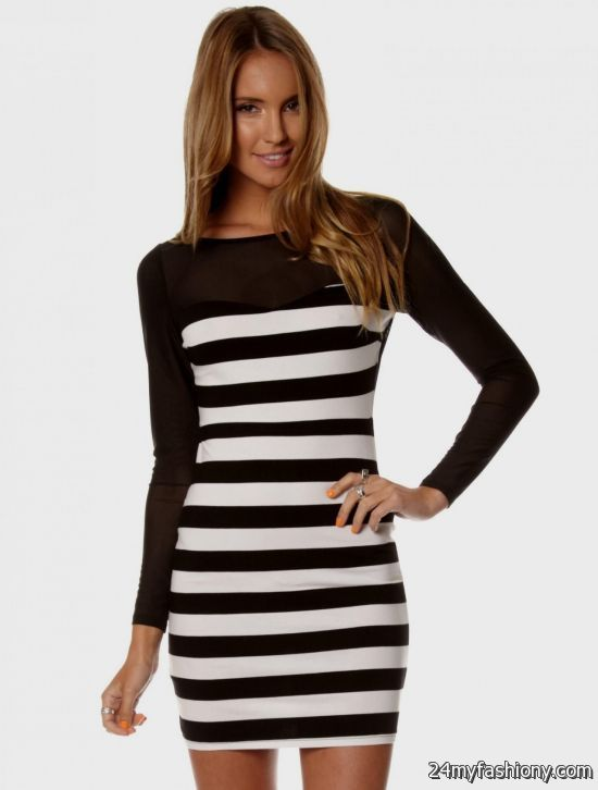 black and white striped bodycon dress outfit 2016-2017 » B2B Fashion