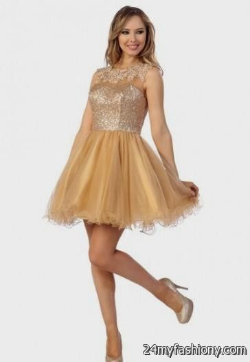 gold short prom dresses with sleeves 2016-2017 » B2B Fashion