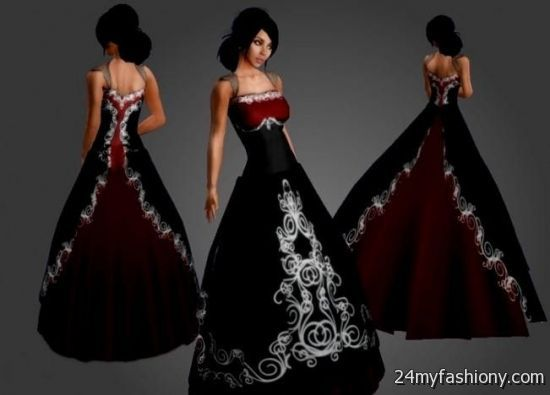 Simple Red And Black Wedding Dresses 2016-2017