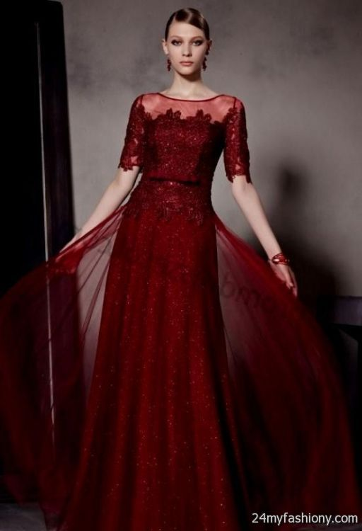 dark red prom dresses with sleeves 2016-2017 » B2B Fashion
