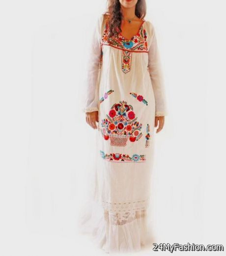 mexican embroidered maxi dress 2017-2018 » B2B Fashion
