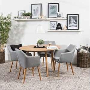 Eethoek Ulfborg Uppsala (tafel met 4 stoelen) - bruin/grijs - Leen Bakker