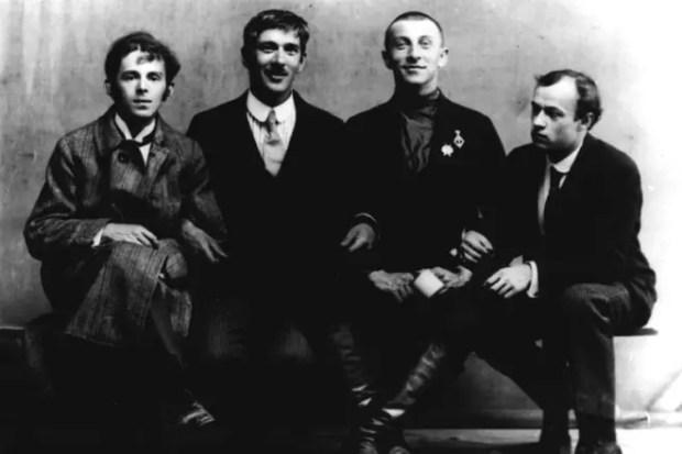 Осип Мандельштам, Корней Чуковский, Бенедикт Лившиц и Юрий Анненков. Петроград, 1914 год