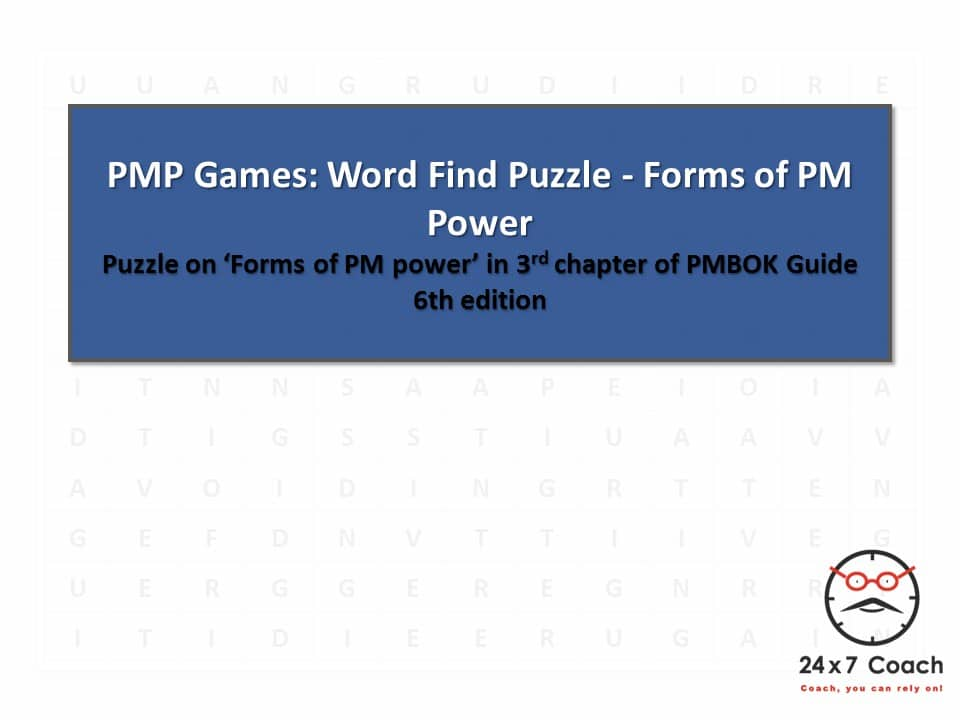 PMP Games - Word Find Puzzle - Forms of PM Power - 0