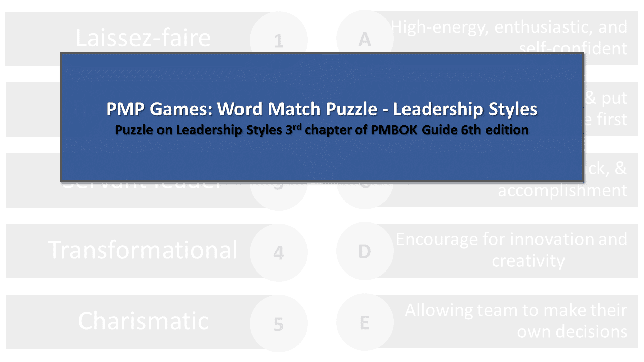 PMP Games - Word Match Puzzle - Leadership Styles