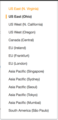 A list of available AWS regions.