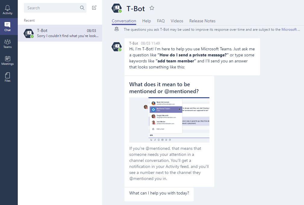 Microsoft Teams bot t-bot chatbot