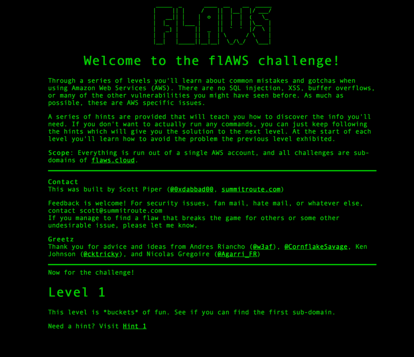 flaws game home aws security learning