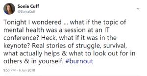 Sonia Cuff Tweet Mental Health in IT