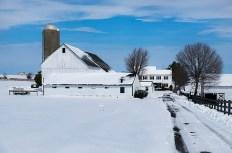 Links die riesige Scheune auf der Farm von Lena und David Stoltzfus. Nur einen Teil davon nutzen sie noch selbst, seit sie ihre Kühe verkauft haben. Im Hintergrund rechts das Wohnhaus der beiden.