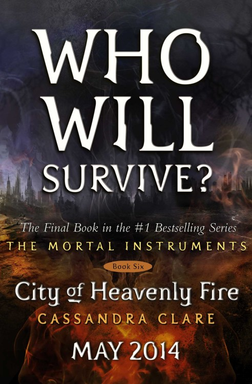Today seems a good day to reveal the placeholder cover for City of Heavenly Fire! This is not the final cover, but since you'll be seeing it all over, on amazon etc. until they reveal the final, might as well see it here first. I did not come up with the tagline, but I like it. The final cover will of course not have words on it, but people. I cannot tell you which people. You will have to wait for the reveal. There is also an extra surprise printed on the inside cover! *dances*Also I have discovered the tumblr of the most patient people ever.http://iscityofheavenlyfireoutyet.tumblr.com/