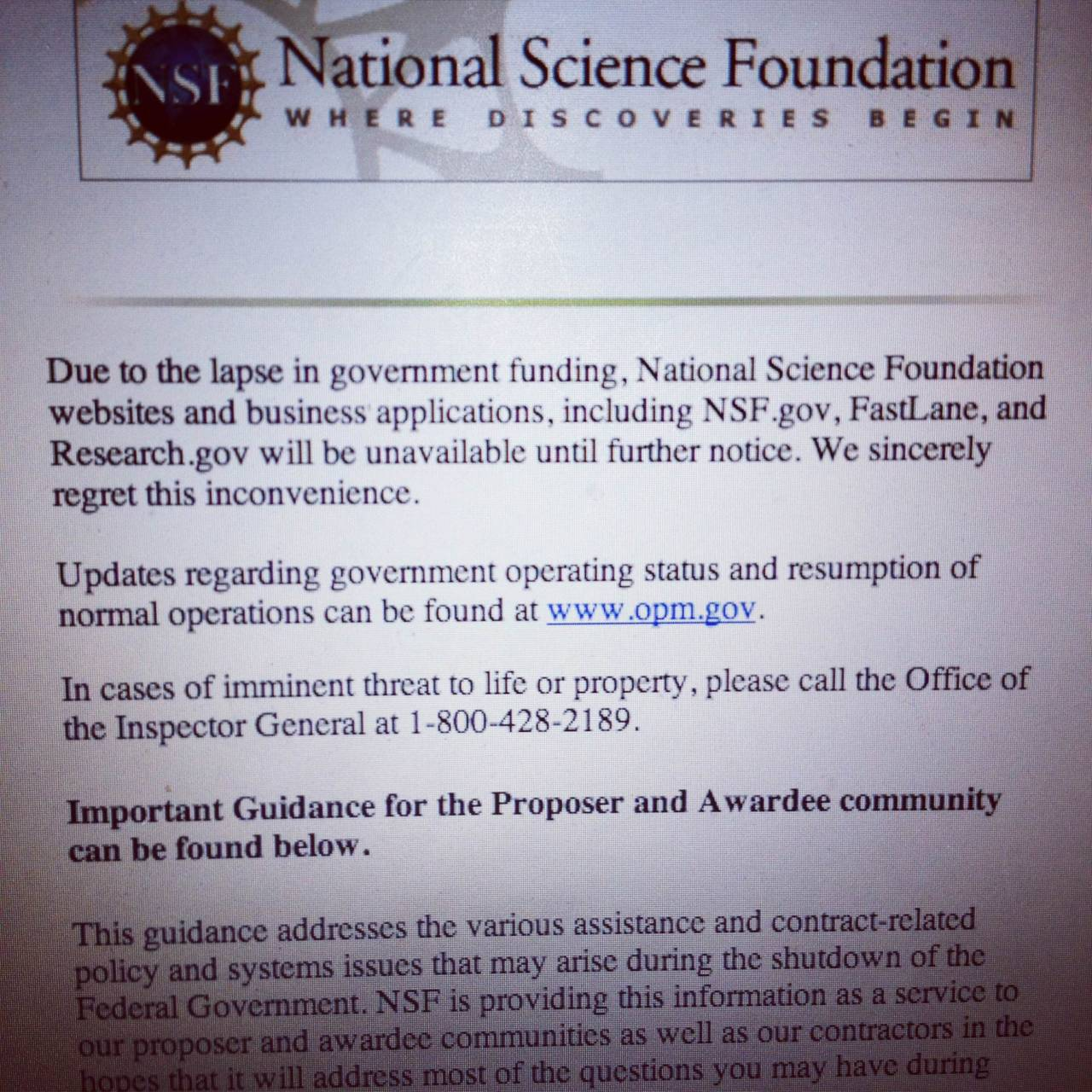 NSF National Science Foundation home page government shutdown