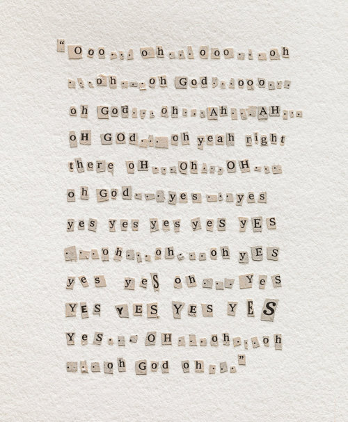 Conceptual artist Rachel Perry Welty recreates Meg Ryan's soliloquy from Nora Ephron's When Harry Met Sally in a collage using letters cut from Ephron's obituary in The New York Times, in one of several visual tributes to cultural icons we lost in 2012.