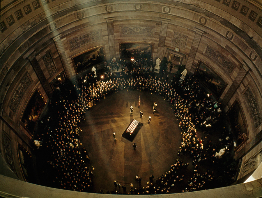 John F. Kennedy's coffin lies in state beneath the Capitol's dome, November 1963.Photograph by George F. Mobley, National Geographic