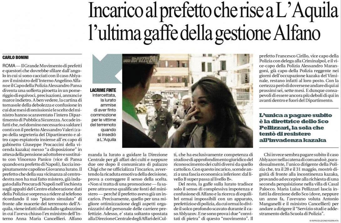 Carlo Bonini racconta la giustificazione surreale del ministro Alfano