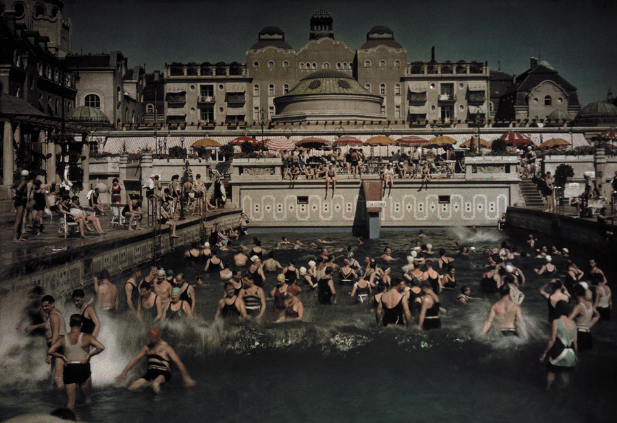 People enjoying the Gellert Bath, an outdoor swimming pool on the banks of the Danube, January 1930.Photograph by Hans Hildenbrand, National Geographic