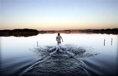nude bathing boy