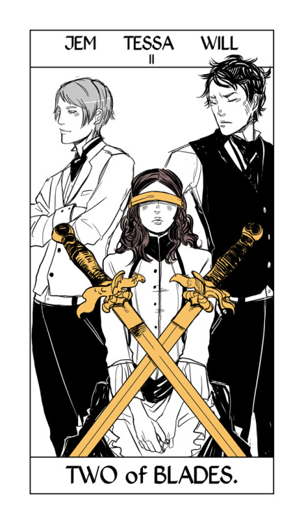 """This seemed appropriate today. The two of blades/swords from Cassandra Jean's Shadowhunter Tarot, representing """"an impossible choice."""""""