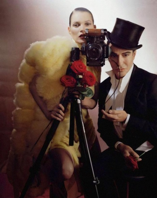 "opaqueglitter:Kate Moss & John Galliano by Tim Walker for Vogue Uk December 2013.John Galliano is the guest fashion editor for the december issue of vogue uk. Galliano was stunned to receive the invite, He says, writing in the magazine: ""How they tracked me down here with my dog gypsy, i'll never know."""