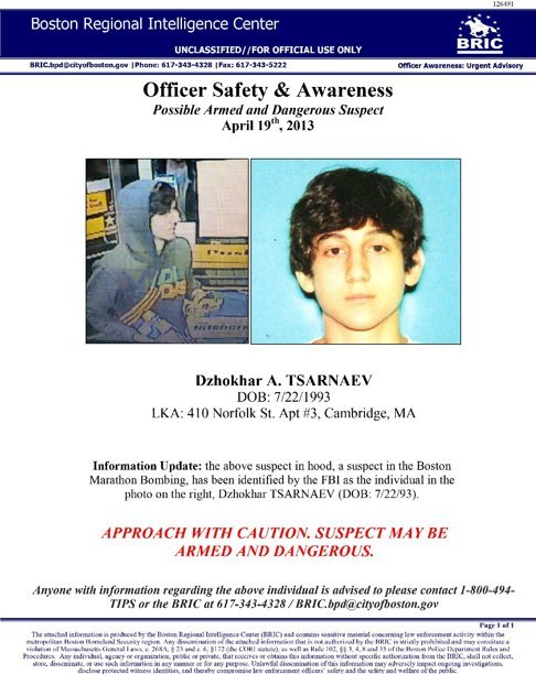 The kids aren't alright. Here is Dzhokhar A. Tsarnaev.He's armed, he dangerous. And almost an entire state is on lockdown as he runs ..