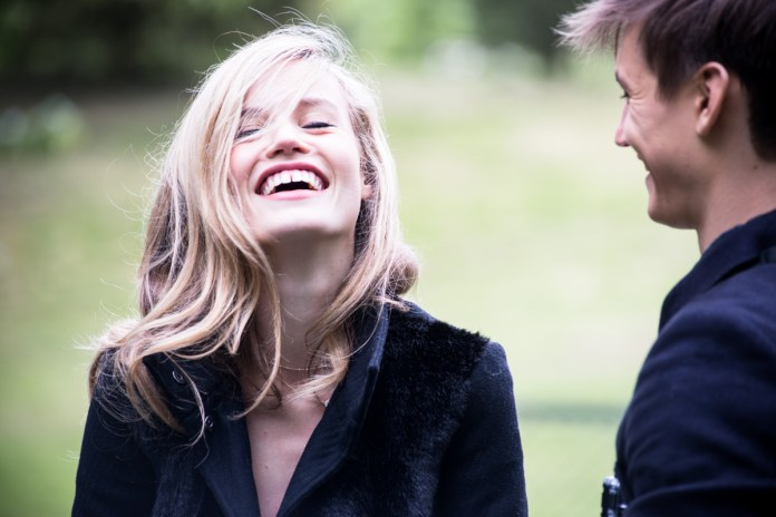 Love and laughter are in the air between Georgia May Jagger and lover Josh McLellan, on the set of Sisley Live shooting of Autumn-Winter 2013-14 campaign, May 10th 2013.