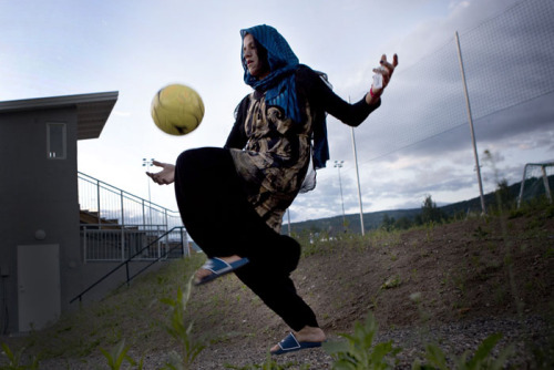 "Got this beautiful picture from Lela Ahmadzai's website.   This particular image makes me incredibly happy. My mother always taught me I could ""be anyone and play anything"".   I hope young women all over the world hear that message at some point in their lives.  It doesn't have to be football. It can be something they love and something they crave. Women's Advocacy, Sport, Environmentalism, Hobbies but something. So that they know, and the world understands, that everyone has a contribution to make.  Women need that chance. And that encouragement.   Lela has captured the resilience and passion of the women in Afghanistan and their love for the beautiful game.  Do check out her amazing work: http://www.ahmadzai.eu/en/allgemein-en/a-wmans-goal  I watch this short film a lot. It reminds me of my privilege. I am very aware of my ability to play safely and teach my daughter the same.   I have posted it and will continue to post it again. And again. And Again."