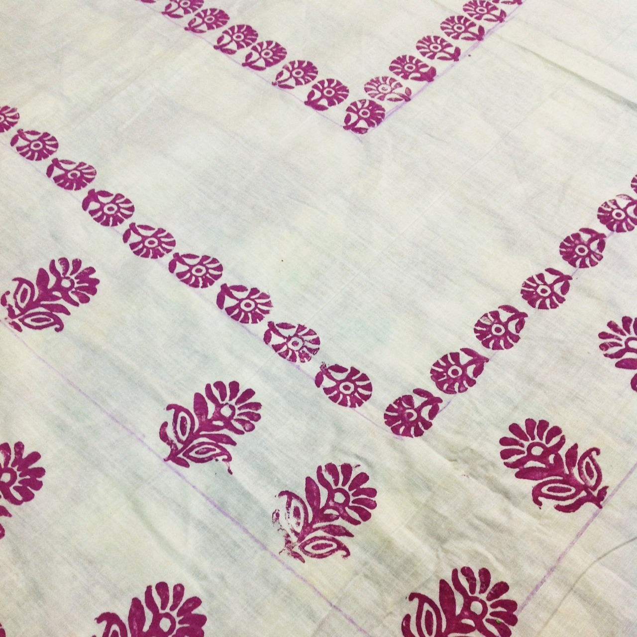 We used two different wooden stamps to print this cotton fabric