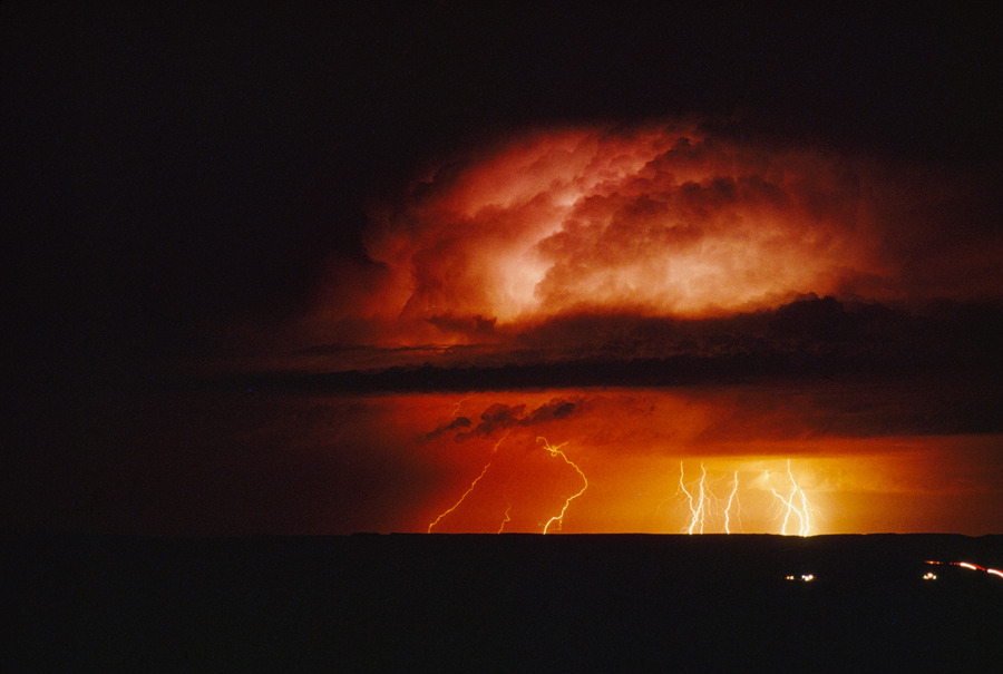 Thunderstorms cause whips of lightning over the plains in New Mexico, November 1989.Photograph by Bruce Dale, National Geographic