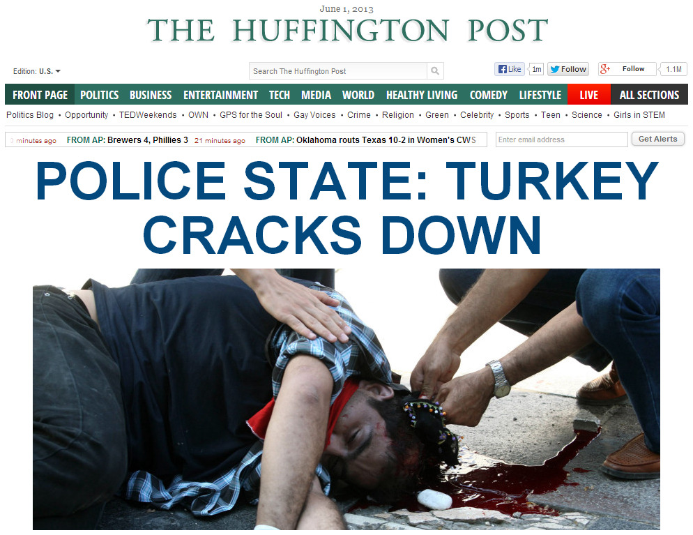 The Huffington Post calls Turkey 'a police state' in its headline.