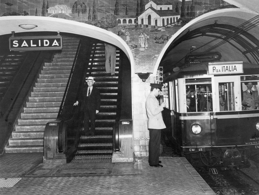 Subway train headed to the Plaza Italia Station in Buenos Aires, November 1939.Photograph by Luis Marden, National Geographic