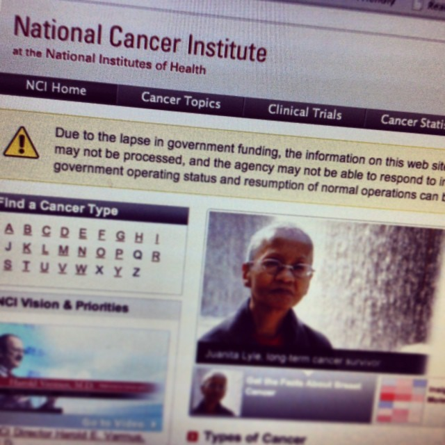 NCI National Cancer Institute home page government shutdown