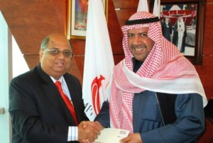The quest goes on :As part of the continuing squash effort to secure a place on the Olympic Games programme in the future, WSF President N Ramachandran has met Sheikh Ahmad Al-Sabah, President ANOC (Association of National Olympic Committees) in Kuwait to update him on the added value that squash would bring if added.