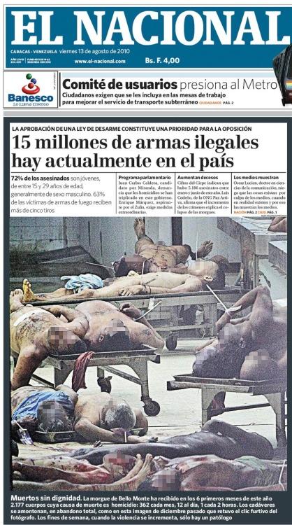 Fotografía publicada en portada por EL NACIONAL el 13.08.2010