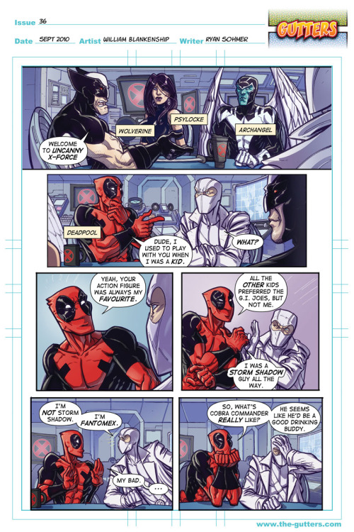 Estúpido DeadPool. (maldición, acabo de darme cuenta que si me pongo ese traje, soy el puto DeadPool) wallisstreetjournal:  kunstgriff:  The odd thing about Deadpool and Fantomex is that this conversation would almost certainly take place for real… Gutters #36, drawn by William Dean Blankenship, Jr