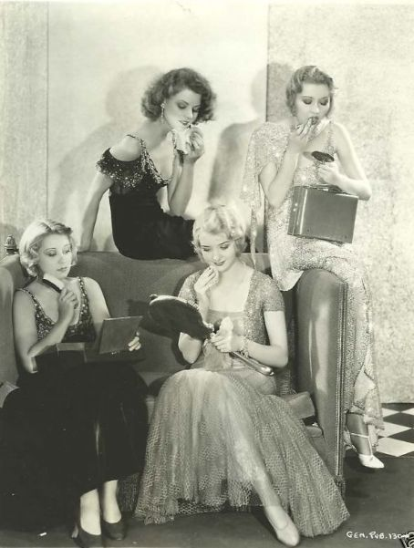 Marian Marsh and friends, having fun with makeup. C. 1930s