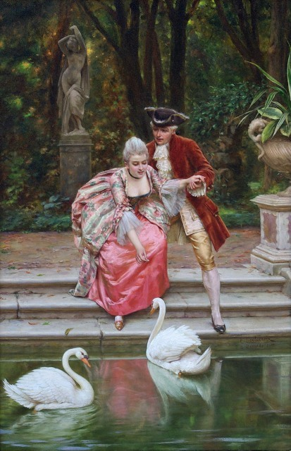 Charles Joseph Frederic Soulacroix - Feeding the swans