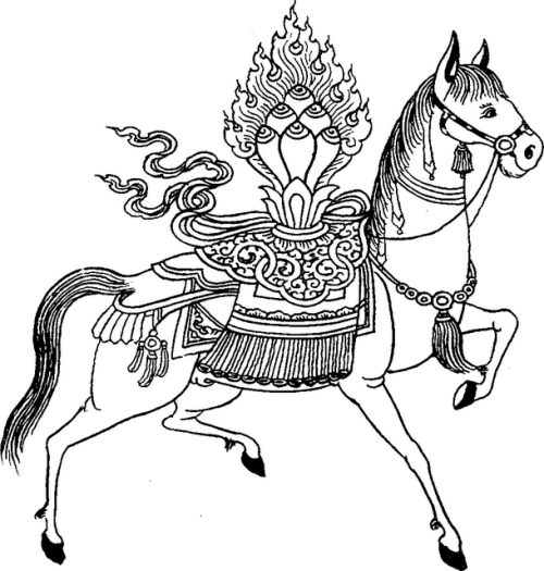 "The Wind Horse (Lung-ta) carrying the ""Wish Fulfilling Jewel of ..."