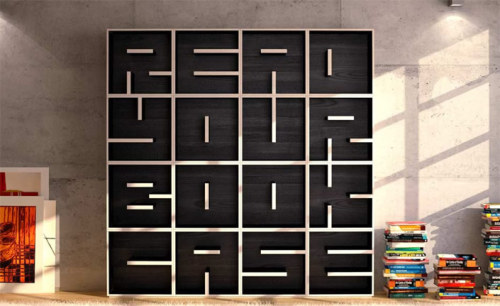 Read Your Book Case - Studio Saporiti has created alphabetical and numerical bookshelf casings, which allows customers to choose individual letters to spell words, phrases and dates.