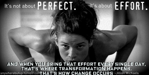 girl doing push ups, motivational poster, perfect, effort, every day, change