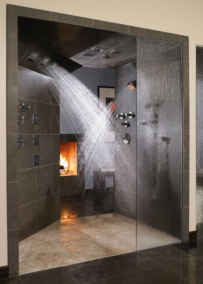 modern shower stall with fireplace