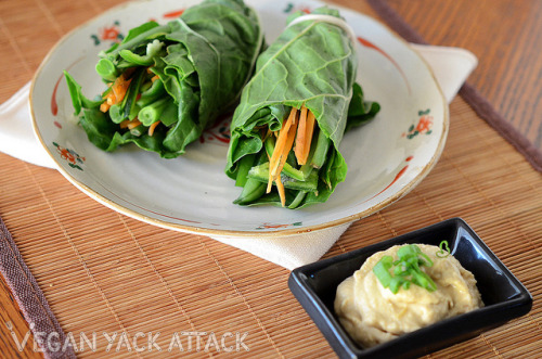 Raw Veggie Chard Wraps with Sprouted Hummus Happy Raw Wednesday, everyone! For a simple, healthy and easy meal, you can never go wrong with wraps; especially raw ones! For these I used broad swiss chard leaves to wrap up green beans, bell peppers, carrots, and zucchini. Spread on or dip the wraps into some sprouted chickpea hummus and you're good to go!Edit: ALSO, I got third place in the Raw Vegan Pie Challenge! This just made my day, honestly. :D