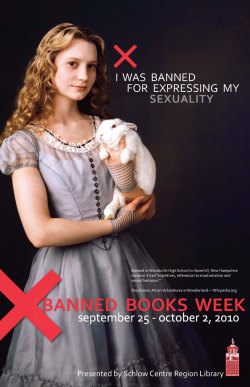 Alice in Wonderland, banned books, sexuality, poster,