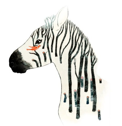 zebra horse trees