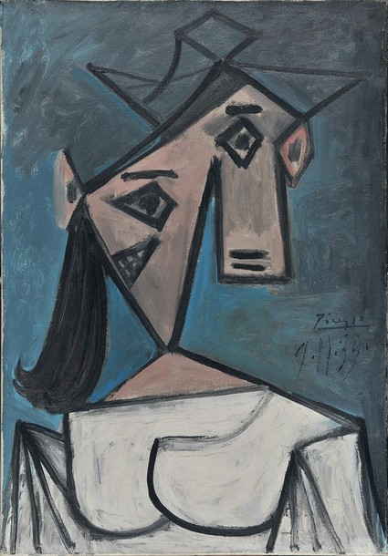 "A painting by Pablo Picasso painted in 1939, and donated to the Greek people by the artist in 1949 to honour their ""brave resistance against the Nazi's"". The painting, measuring 56cm X 40cm (22 inches x 16 inches) was one of the three stolen from Greece's National Gallery in Athens on Monday.   (via Photo from Reuters Pictures)"