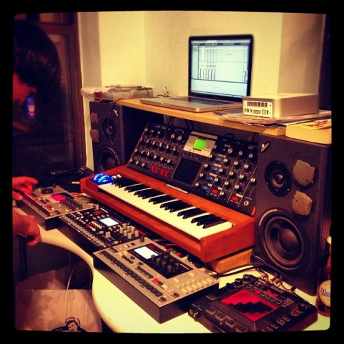 Ben has a killer setup. #elektron #moog #abletonlive (Taken with instagram)